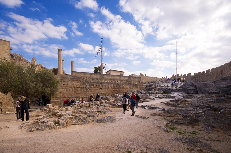 At the top of Acropolis of Lindos, just past the entrance from the steps from the base