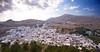 The town of Lindos, Rhodes, as seen from the Acropolis of Lindos high above the town