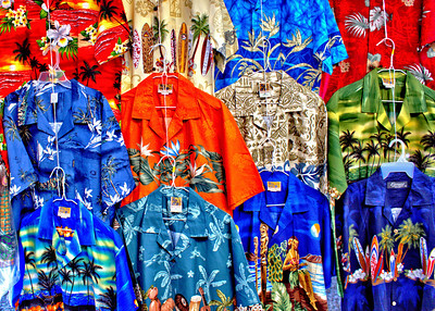 Traditional Hawaiian shirts on sale at the farmer's market
