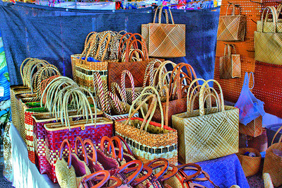 Colorful handmade bags at the Hilo marketplace