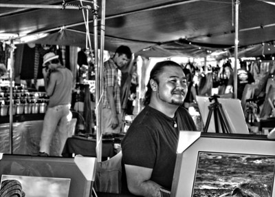 Local Hawaiian native photographer at the farmer's market