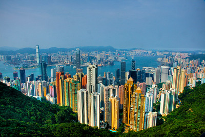 Shot from the Peak overlooking Victoria Harbour, Kowloon & Hong Kong sides.