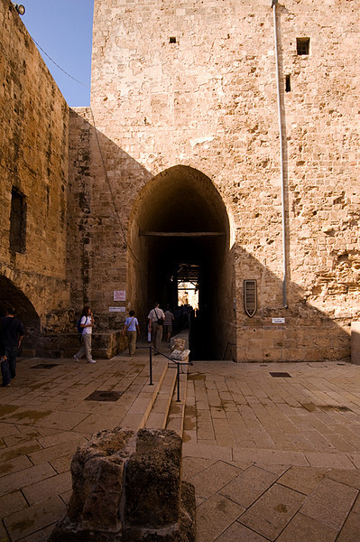 Akko Crusader Castle - Entrance to the Knights Halls complex. The tower building, dated to the 17/18th Ottoman period, was built over the ruins of the Crusaders fortress. Straight through the tower gate is the entrance to the Great Hall.