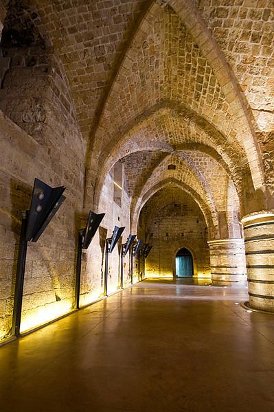 Akko Crusader Castle - Restored portion of Pillared Hall