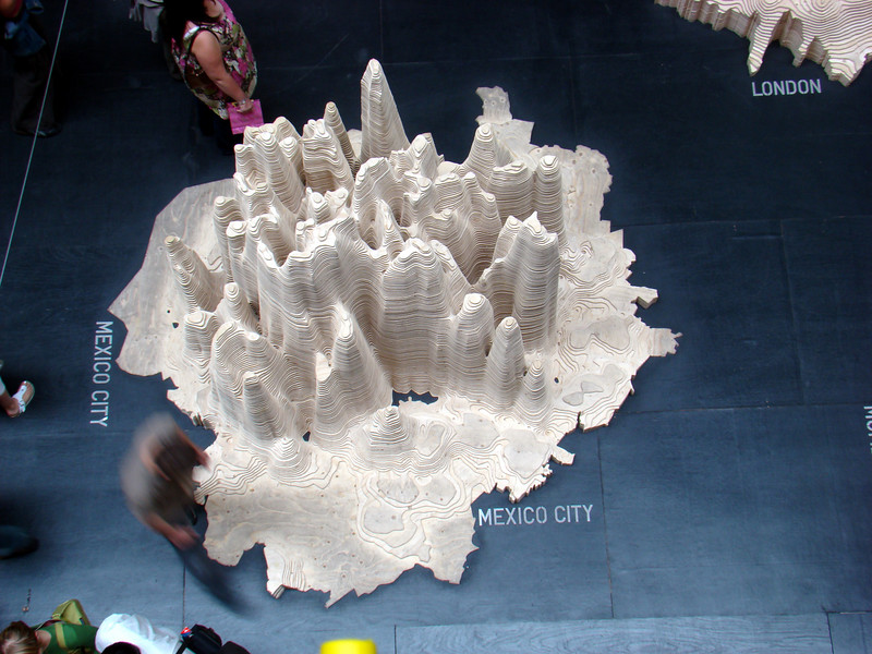 Exhibit from the Tate Modern exhibition on urbanisation - the model represents the population density in Mexico City