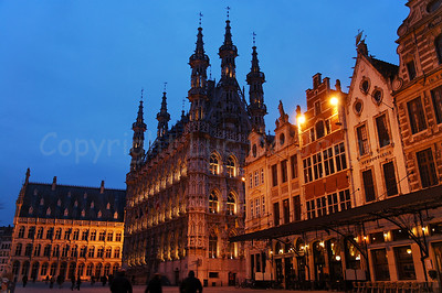 The Market Square (Grote Markt) in Louvain (Leuven), Belgium, captured at dusk.