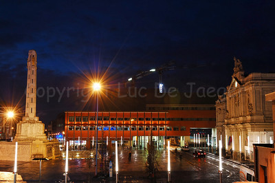 View on the Martelarenplein and the railway station in Louvain (Leuven), Belgium at dusk.