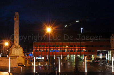 View on the Martelarenplein and the new railway station in Louvain (Leuven), Belgium at dusk.