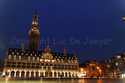 The Ladeuzeplein (Ladeuze Square) and the Universiteitsbibliotheek (University Library) in Louvain (Leuven), Belgium, captured at dusk.