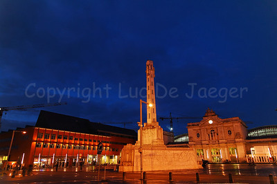 View on the Martelarenplein in Louvain (Leuven), Belgium at dusk.