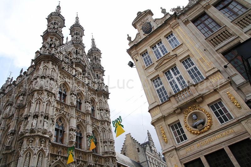 The Town Hall (on the left) and 'Het Moorinneken', a restaurant (on the right) in Louvain (Leuven), Belgium