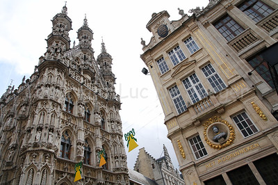 The Town Hall (on the left) and 'Het Moorinneken', a restaurant (on the right) in Louvain (Leuven), Belgium