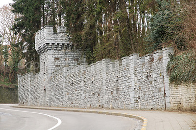 A side wall remaining from the ducal castle dating from the 12th century. Behind the wall on the Keizersberg (Emperor's Mountain) in Louvain (Leuven), Belgium, is now an Abbey.