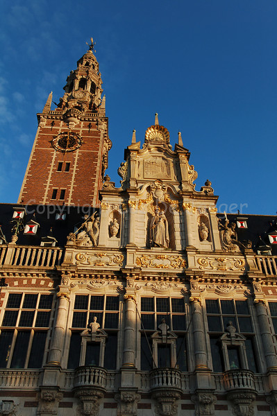 The University Library on the Ladeuzeplein in Louvain (Leuven), Belgium. The tower houses one of the largest carillons in the world.