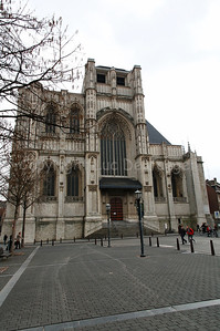 View on the St Peter's Church (Sint Pieterskerk) in Louvain (Leuven), Belgium. The church is built in the 15th Century.