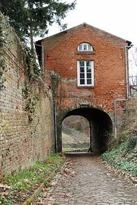 The entrance gate leading to the neo-romanesque Abbey high on the Keizersberg (Emperor's Mountain) in Louvain (Leuven), Belgium.