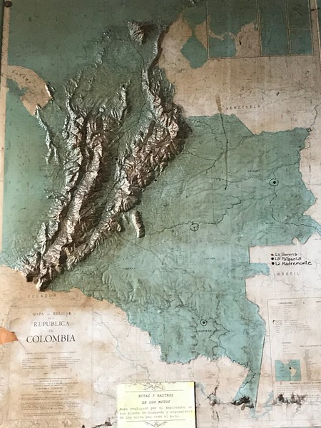 Antique Relief Map of Colombia