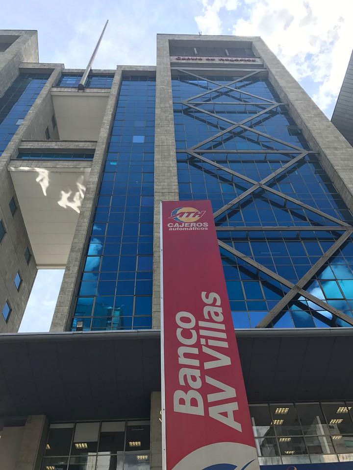 Banco Av Villas has a beautiful modern building across from Santa Fe Mall