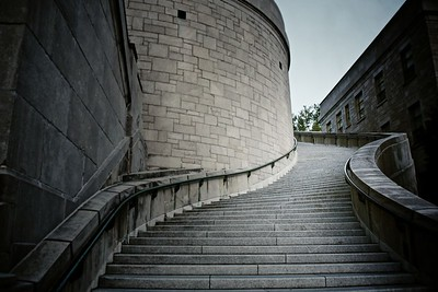 Going up the steps of Saint Joseph's Oratory, Mount Royal