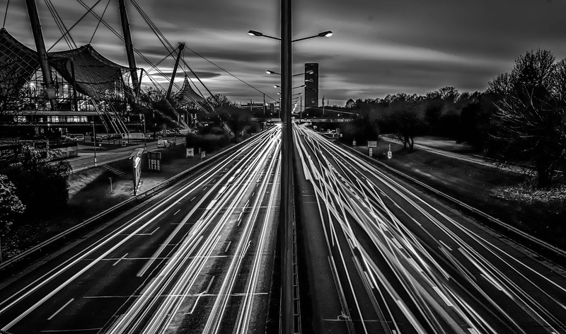 Olympia Lights Trails (Black and White)