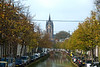 "Delft: The Oude Kerk (Old Church), nicknamed Oude Jan (""Old John""), is a Gothic church in the old city center of Delft, the Netherlands. Its most recognizable feature is a 75-meter-high brick tower that leans about two meters from the vertical."
