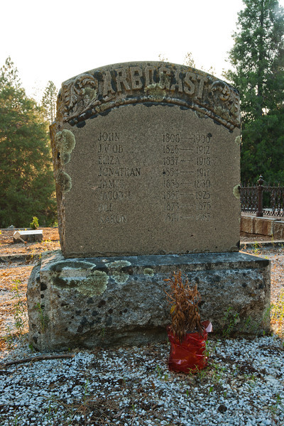 Inscription reads:<br /> <br /> ARBOGAST<br /> <br /> Then there are various entries, Births ranging from 1808 to 1874, deaths ranging from 1880 to 1965, ages ranging from 2 to 92.<br /> <br /> Pine Grove Cemetery, Nevada City, Ca.