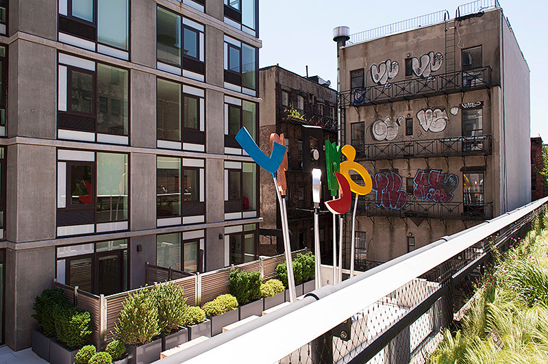 """The High Line building sculpture, """"Urban Rattle"""" by Charlie Hewitt, to the east of the walkway, at Ten23, between 22nd & 23rd Street"""