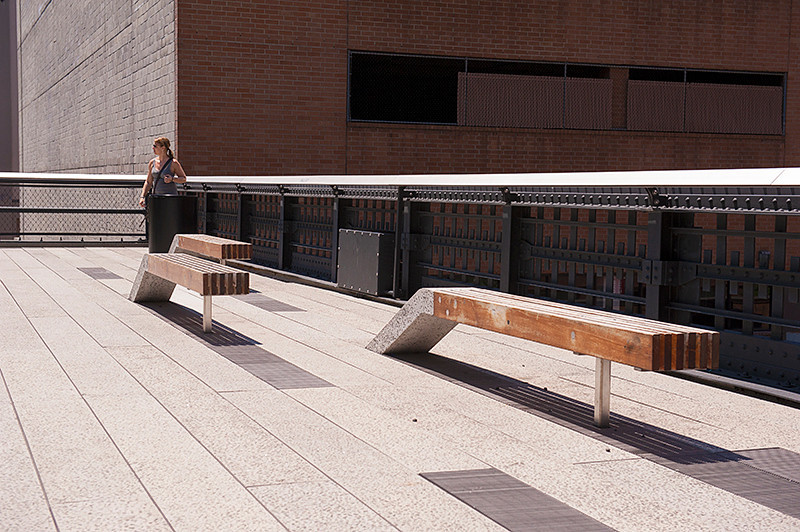 The High Line at the 22nd Street overlook with the seating echoing the appearance of train track bumpers