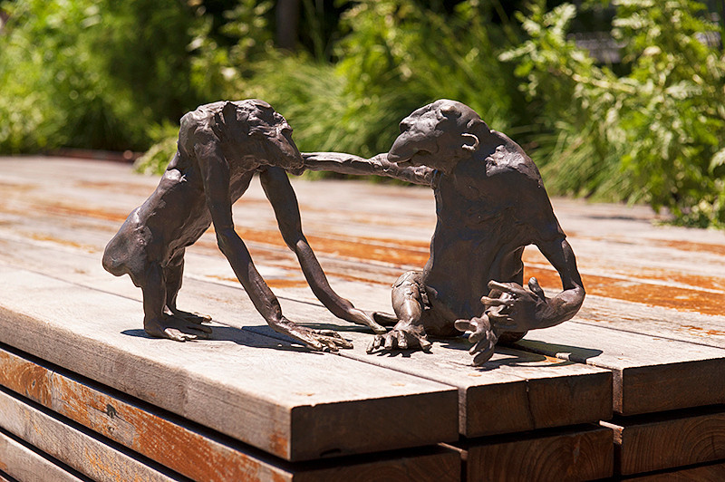 """The High Line sculpture, """"The Seduction"""" by Francis Upritchard, at the edge of the lawn between 23rd and 22nd Streets"""