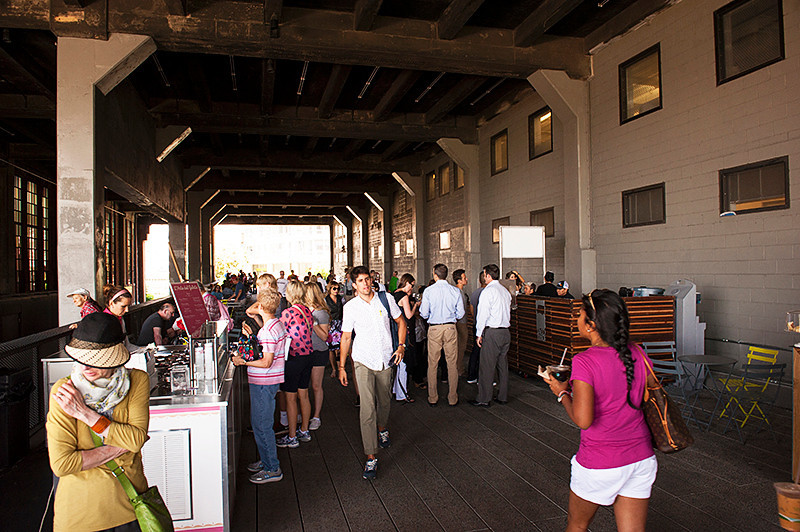 """The High Line """"Chelsea Market Passage"""" and """"Food Porch"""" between 15th and 14th Streets"""