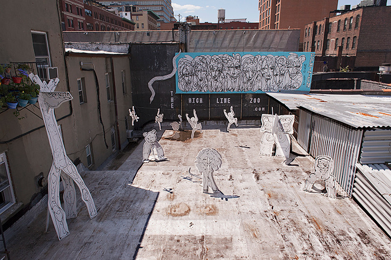 The High Line Zoo project by artists Sun Bae, Jordan Betten and Stuart Braunstein between 28th and 27th Streets
