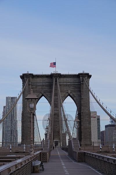 Brooklyn Bridge towards Manhattan.