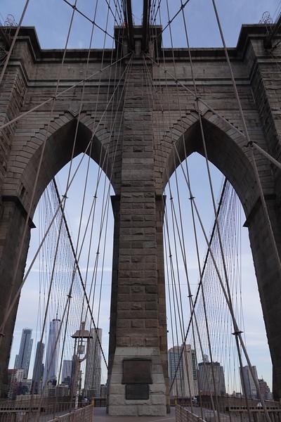Eastern tower on Brooklyn Bridge.