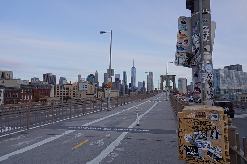 The start of the Brooklyn Bridge from the Brooklyn side.