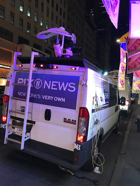 Media covering the fire at Trump Tower.