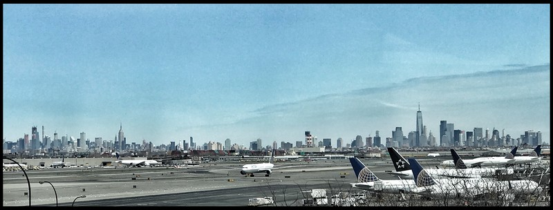 View of Manhattan from Newark Airport, New Jersey.