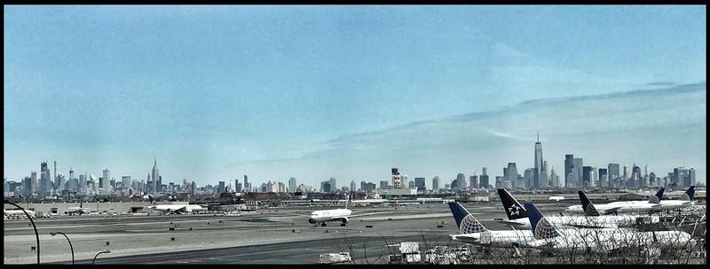 View of Manhattan from Newark Airport, New Jersey.