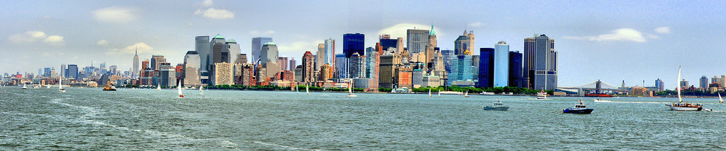 Panoramic view of lower Manhattan from Ellis Island