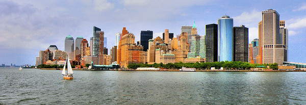 """Lower Manhattan Enhanced""  This picture of Lower Manhattan is enhanced to bring out the color and provide for a beautiful, panoramic print."