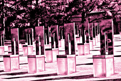"""Remembrance"" These glass chairs represent each of the Oklahoma bombing victims."