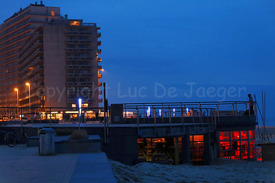 The Beach Promenade (Zeedijk) in Ostend (Oostende), Belgium, captured at dusk.
