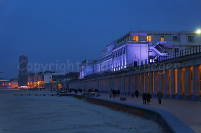 The Royal Galleries (Koninklijke Gaanderijen) in Ostend (Oostende), Belgium, captured at dusk.