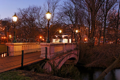 The bridge in the Leopoldpark in Ostend (Oostende), Belgium, captured at dusk.