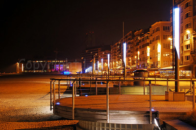 The Beach Promenade (Zeedijk) in Ostend (Oostende), Belgium, captured at night.