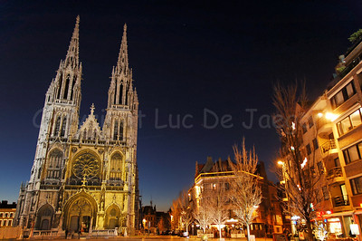 The St. Petrus and Paulus Church in Ostend (Oostende), Belgium, captured at dusk.