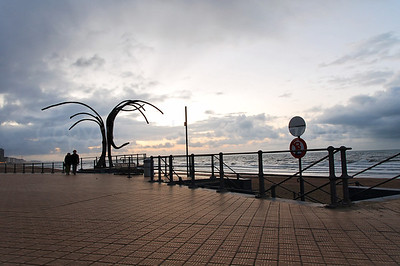 The Beach Promenade (Zeedijk) in Ostend (Oostende), Belgium, in Autumn/Fall, captured at dusk.