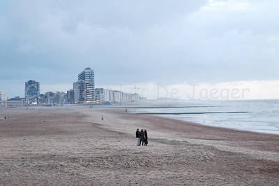 The desolate beach in Ostend (Oostende), Belgium, in Autumn/Fall.