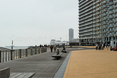 The beach promenade in Ostend (Oostende), Belgium, on an overcast day.