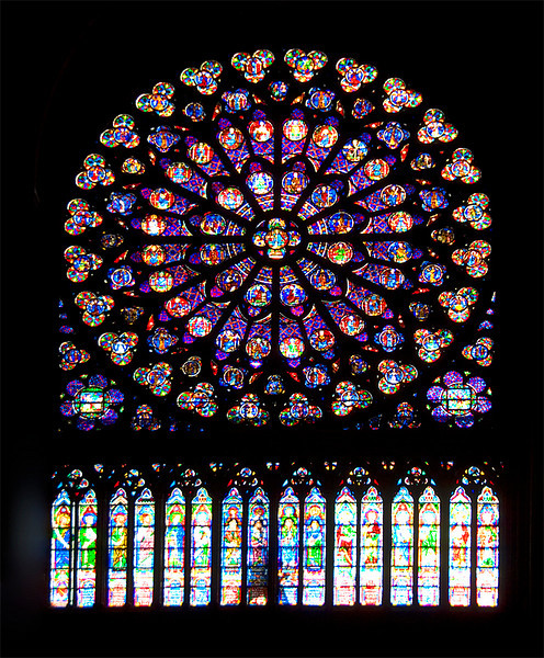 Notre Dame De Paris France South Rose Stained Glass Window The