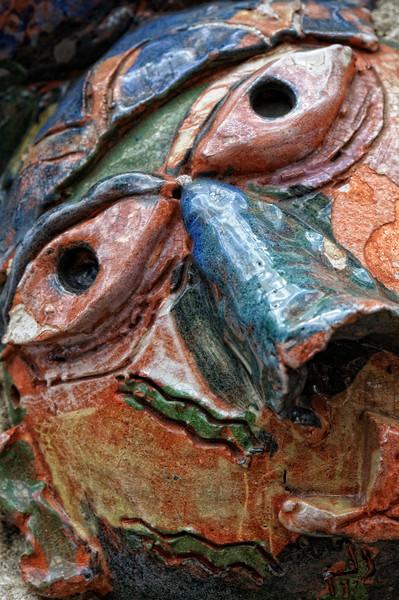 Ceramic face from Philadelphia's Magic Garden at 1020 South Street